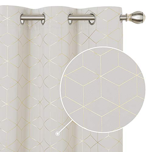 Deconovo Light Beige Foil Printed Golden Diamond Curtains Grommet Light Blocking Blackout Curtain Grommet Window Drapes for Living Room 2 Panels 42W x 84L Inch