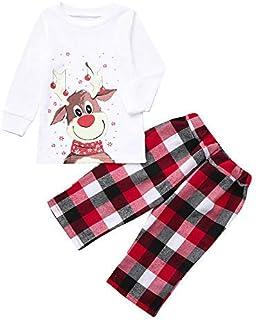 Pijamas Navideños Familiares Impresión de Cervatillo, Conjunto de Pijama Navideño Familia Invierno, Traje de Navidad Elfo Ropa de Dormir para Dad Mom Niña Bebe Niño