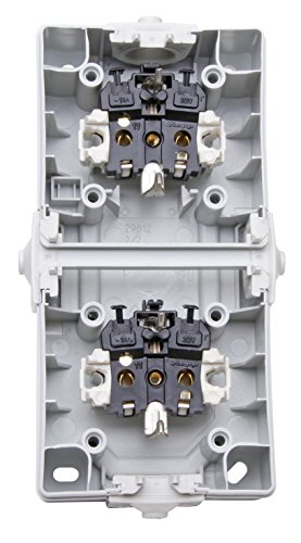 Kopp Nautic Steckdose für Feuchtraum, Aufputz, 250V (16A), 2-fach Schutzkontakt-Steckdose mit Deckel & erhöhtem Berührungsschutz, senkrechte Anordnung, grau, 136956008