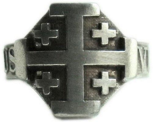 Ring der Kreuzritter, Ritterorden vom Heiligen Grab zu Jerusalem mit Motto DEUS VULT (Gott will es)