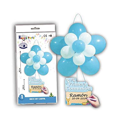 Kit Cartel Globos Comunión en Azul para Decorar la Fiesta Primera Comunión. Lote 2 Kits.