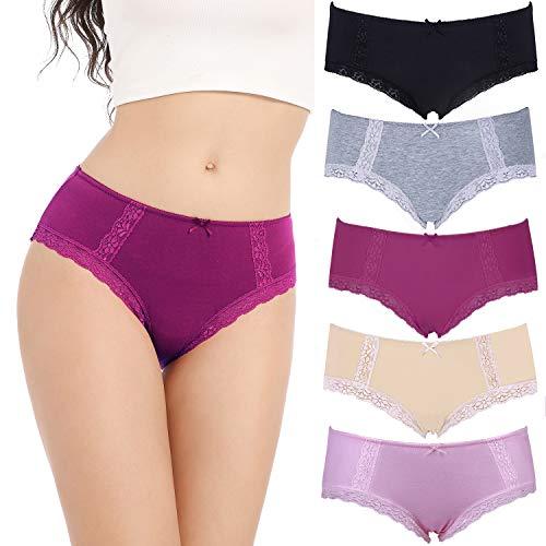 COMSOFT Soft Baumwolle Damen Slip Hipster Unterhosen Damen (Mehrfarbig E, M)