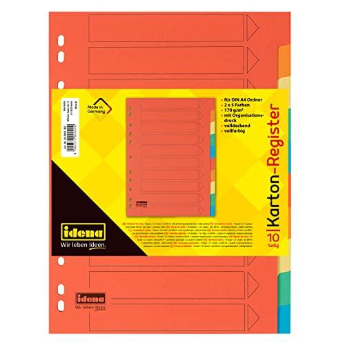Idena 302004 - Register für DIN A4, aus Karton, 10-teilig, volldeckend, bunt, 1 Stück