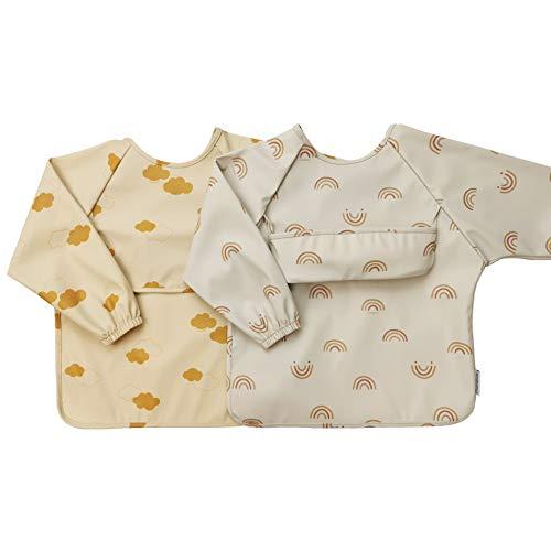 ÜneeQbaby bavaglino impermeabile per neonato e bambino, 2 pezzi, maniche lunghe, certificazione Oeko-TEX, (Nuvole e arcobaleni, Taglia piccola)
