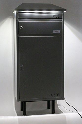 SafePost 95 LED Paketbriefkasten silber-grau mit gesichertem Paketfach Standbriefkasten Briefkasten - 5