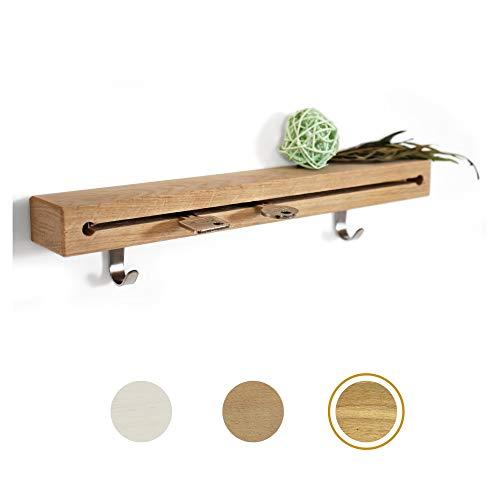 ELS® Schlüsselbrett aus Holz mit extra Garderobenhaken - Auswahl an verschiedenen Größen und Hölzern - Schlüsselboard aus hochwertigem Echtholz für eine Lange Lebensdauer [Eiche - 30cm]