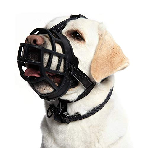 """Soft Silicone Basket Dog Muzzle - Allows Dogs to Pant Eat Drink, Prevents Biting Barking and Chewing, Safe Handling During Grooming Training or Travelling, Used with Regular Collar(1 Snout 7-8"""")"""