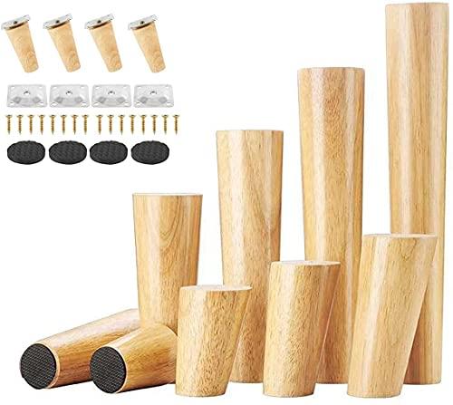 Uni-Fine Shop 4 Piezas Patas de Muebles de Madera 8 cm Patas Cónicas con Inclinación Patas de Repuesto de Madera de Montaje y Tornillos para Sofá Cama, Armario, Sillón (Altura del pie Oblicuo 8 cm)