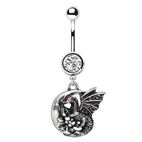 Pierced Owl Dragon in Crescent Moon Fantasy Dangling Charm Belly Button Navel Ring