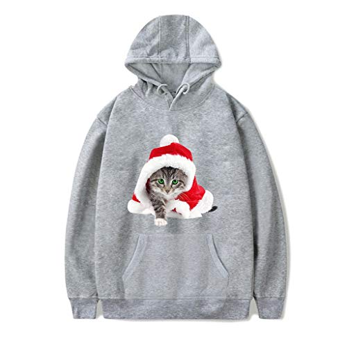 Best Buy! Women Sweatshirt Hoodies Pullover Cute Small Cat Long Sleeve Drawstring Christmas Hoodie S...