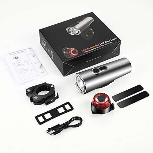 Nestling LED Fahrradlicht Set,StVZO Zugelassen 600 Lumen LED Fahrradbeleuchtung Fahrradlampe Set USB Wiederaufladbar IPX5 Wasserdicht Frontlicht & Rücklicht für Nachtfahrer Radfahren,Outdoor Sport - 9