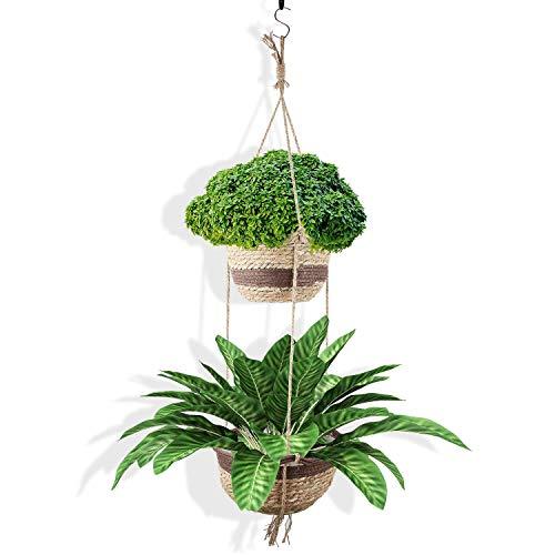 Cesta Colgante para Plantas, Macetas de Flores Colgantes, Maceteros de Algas Naturales de Doble Capa, Maceteros de Interior y Exterior Son Adecuados para la Decoración de Dormitorios Familiare