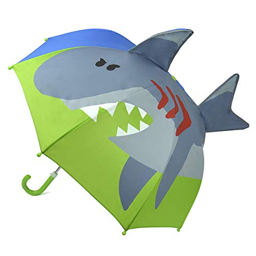 Childrens 3D Novelty Shark or Dinosaur Dome Umbrella (Shark)