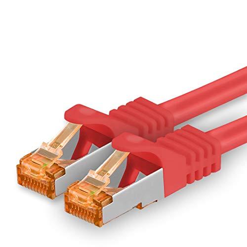 1aTTack.de 30m - Cat.7 Netzwerkkabel Rot - 1 Stück Gigabit Ethernet LAN Kabel 10000 Mbit s Patchkabel Cat7 Kabel S FTP PIMF Schirmung LSZH Cat.7 Rohkabel Rj45 Stecker Cat 6a - 1 x 30 Meter