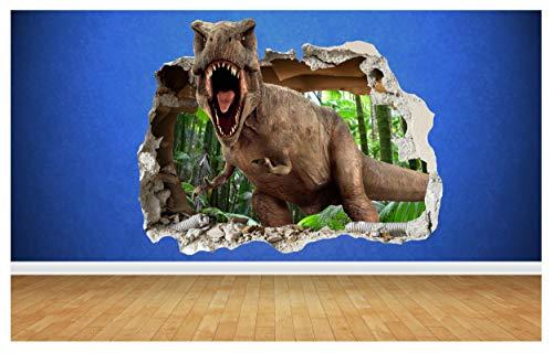 Thorpe Signs T Rex Effetto 3D Smashed Adesivo da Parete, Dinosauro Jurassic Park Style Art Tirannosauro No1, Small: 50cm x 39cm
