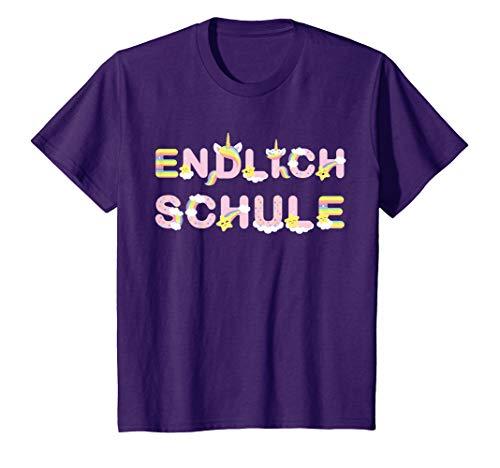 """Kinder Einschulung Mädchen 2020 Einhorn \""""Endlich Schule\"""" süßes lila T-Shirt"""