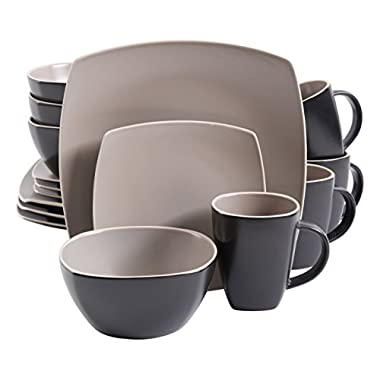 Gibson Home 102264.16RM Soho Lounge Matte 16 Piece Dinnerware Set, Taupe