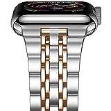 QINJIE Correa de Acero Inoxidable Compatible con Apple Watch Correa de Repuesto Ultrafina y Ligera para Mujeres y Hombres,E,38MM