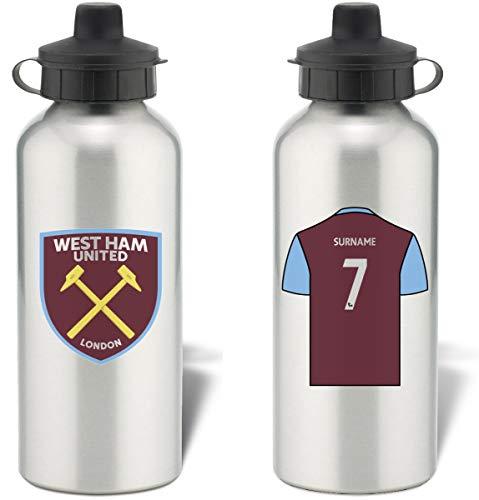 West Ham United Personalised FC Shirt Aluminium Sports Water Bottle - Silver Bottle