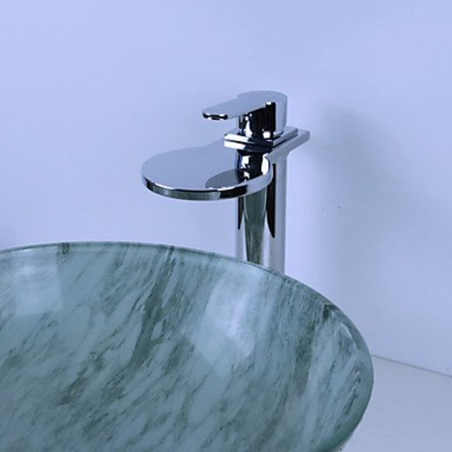 Y&M Faucet£? Contemporary waterfall single hole vessel with ceramic valve single for Chrome bathroom sink faucet