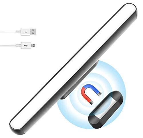 Phiraggit Debajo de la luz del gabinete, barra de luz de control táctil de ángulo ajustable regulable, luz de armario recargable USB Stick-on Anywhere Cocina Dormitorio Armario