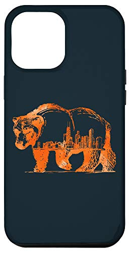 iPhone 12 Pro Max Downtown Chicago City Skyline Walking Bear Silhouette Gift Case