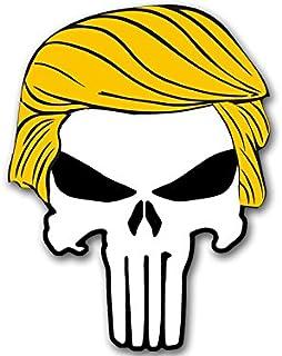 Skull w/Trump Hair Shaped Sticker (Bumper pro Donald Military GOP q)