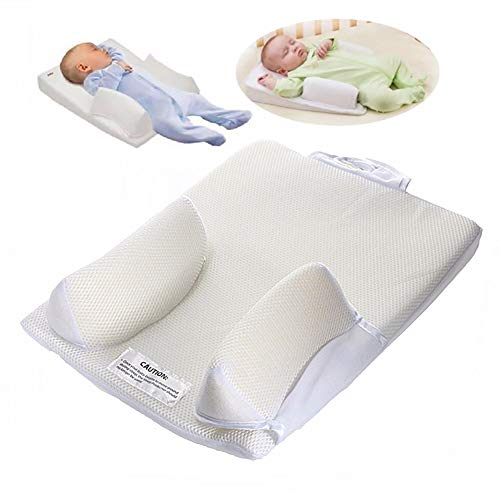 Baby Newborn Anti Roll Infant Sleep Pillow with Breathable Memory Foam 15 ° Incline, Anti Reflux and Colics Congestion Cushion Flat Head for Toddler,Washable,40 * 31 * 3cm