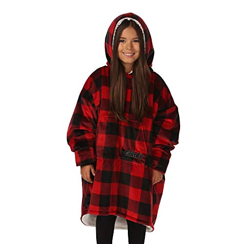 THE COMFY Original JR | The Original Oversized Sherpa Wearable Blanket for Kids, Seen On Shark Tank, One Size Fits All…