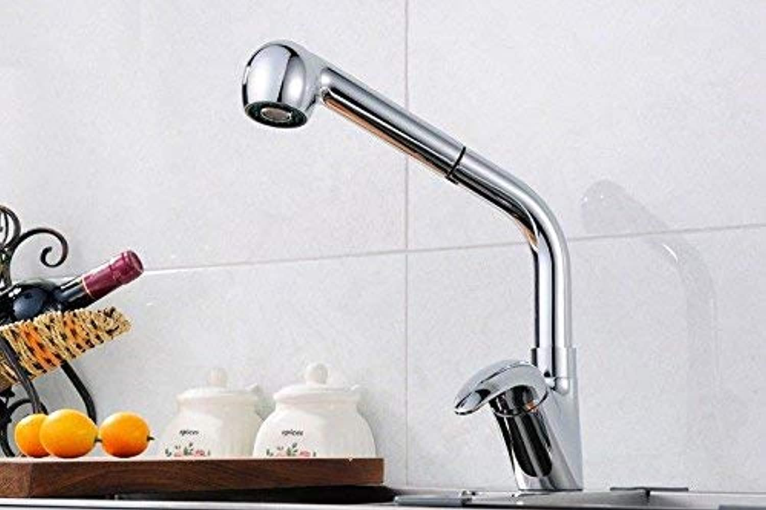 Oudan Kitchen faucet sink mixer taps kitchen sink tap pull-out spout head chrome cold and hot handle mixer taps (color   -, Size   -)