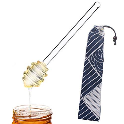 Cangad 撹拌棒 ハニーディッパー ガラス製 スティックスプーンディップ 蜂蜜スプーン お茶 牛乳 コーヒー 便利 デザイン キッチン 天然 安全 耐久性