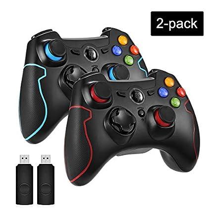 EasySMX 2 Pack Mandos PS3, [Regalos Originales] 2.4G Mandos PC/PS3, Mandos para PC, Gamepad Wireless Compatible con Windows XP y Vista, Windows 8, PS3, Android y Operación Rango hasta 10M