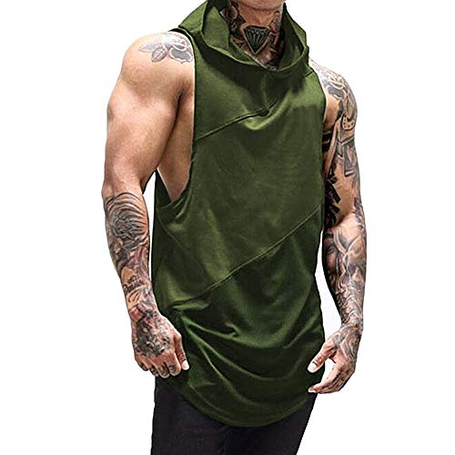 Rexcyril Men's Sleeveless Workout Tank Top Hooded Gym Bodybuilding Fitness Muscle Cut Stringer Hoodies Green Large