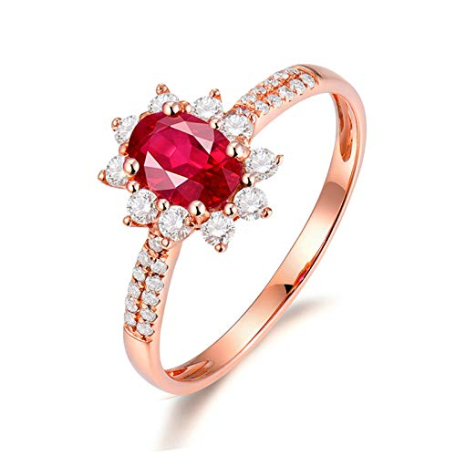 Beydodo Anillo de Compromiso Mujer,Anillo Oro Rosa Mujer 18K Oro Rosa y Rojo Oval Flor Rubí Rojo 0.6ct Diamante 0.26ct Talla 25(Circuferencia 65MM)