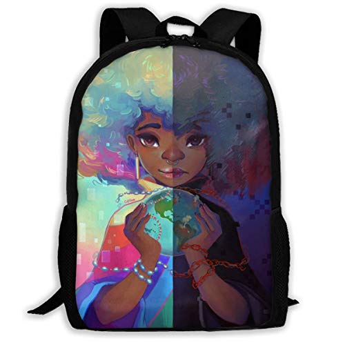 Mochilas de marchaMochilas tipo casual African Black Women With Colorful Hair Hairstyle Slim Laptop Backpack Vintage Anti-Theft Business Bag for Travel School Casual Daypacks for Man Women Fits 15-I