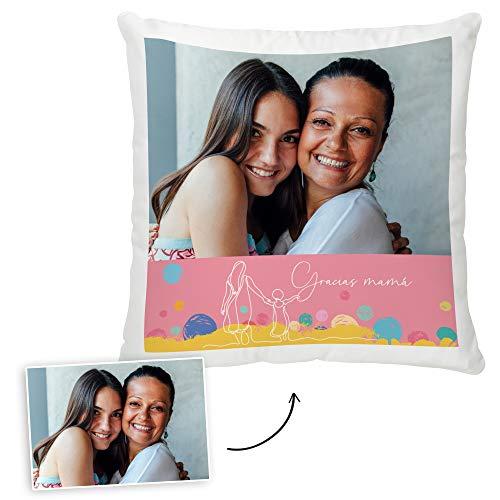 Fotoprix Cojín Personalizado con Foto para Mamá | Regalo Original día de la Madre | Varios diseños Disponibles. (Diseño: Madre 4, 35 x 35 cms)