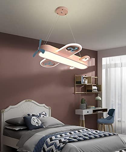 LED Regulable Cuarto De Los Niños Luces Colgantes, Moderno Dibujos Animados Aeronave Diseño Lámpara Colgante, Con Control Remoto Dormitorio Infantil Luces Colgantes, 48W L55CM,Rosado