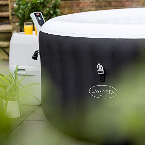 Lay-Z-Spa Miami Hot Tub, 120 AirJet Massage System Inflatable Spa with Freeze Shield Technology, 2-4 Person Pools, Hot Tubs & Supplies