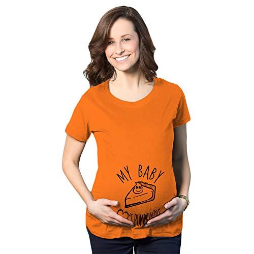 Crazy Dog Tshirts - Maternity My Baby Loves Pumpkin Pie Cute Autumn Pregnancy Tshirt (Orange) - L - Femme