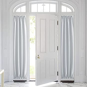 PONY DANCE Door Curtain Panel - Heavy-Duty Solid Rod Pocket Blackout Window Treatment for Sliding Glass French Door with Adjustable Tieback 25 x 72-inch Greyish White 1 Piece