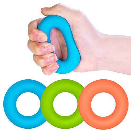 Kimihome Handtrainer, 3 Stück Silikon-Greifer für Muskelstärkung, Trainingsgerät für Arthritis, Finger, Physiotherapie(30/40/50LB)