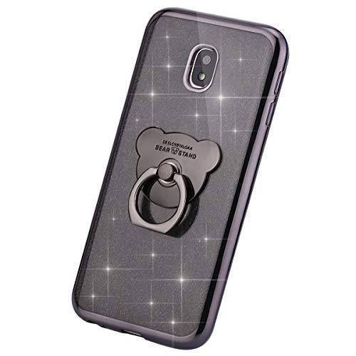 MoreChioce Compatible avec Coque Galaxy J5 2017 Étui Silicone, Fantaisie Glitter Strass Bling Paillettes Noir Coque de Protection Souple Housse avec Anneau Compatible avec Samsung Galaxy J530
