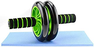 Dual Wheel Ab Roller With Pull Rope - Black/Green
