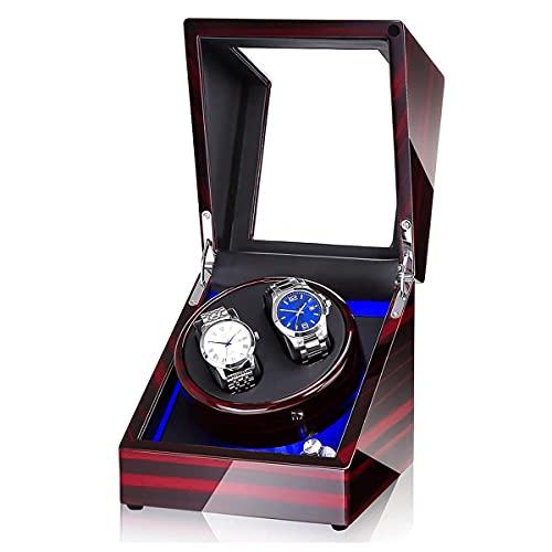 Bobinadoras de reloj doble para caja de relojes, rotor de reloj con luz LED, carcasa giratoria para reloj, agitador de reloj