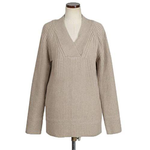Pullover voor dames in Koreaanse stijl en winter, V-hals van alpaca, trui voor dames, grote maten, Justtime Eén maat Abrikoos