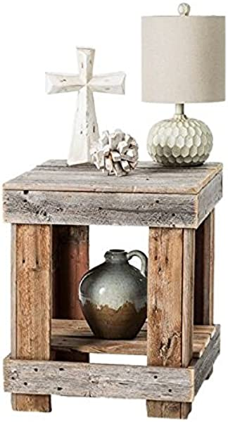 Del Hutson Designs Rustic Barnwood End Table USA Handmade Reclaimed Wood Natural