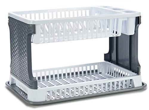 TIENDA EURASIA® Escurreplatos de Plástico 2 Alturas con Bandeja - Textura Ratán - Gran Capacidad y Resistencia - 30,3 x 8,5 x 44,5 cm (Blanco)