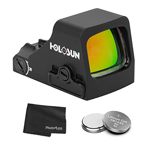 HOLOSUN HS407K-X2 Classic Reflex Red Dot Only Sight for Pistols + 2 Additional CR1632 Batteries and Lens Cleaning Cloth
