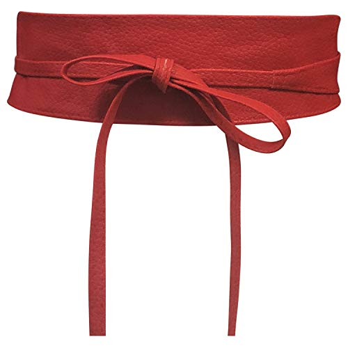 Cinturón Obi de mujer Banda de cintura ancha de encaje Cincha de cuero sintético Ate una talla Boho (Cuero Rojo)