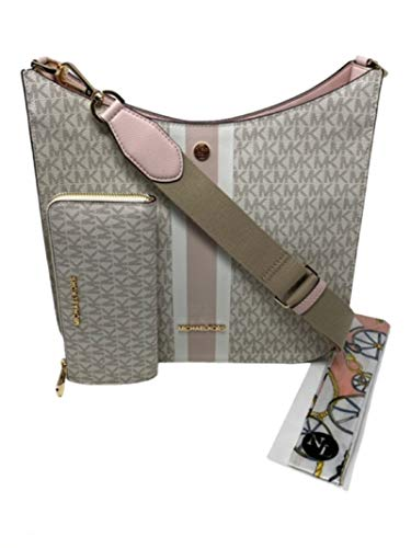 MICHAEL KORS LRG Briley Messenger Handbag Crossbody Bundled w/Wallet NL Skinny Scarf (Vanilla Sig Pink Center Stripe)